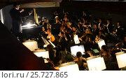 Купить «Ufa, RUSSIA - NOVEMBER 19, 2015: Symphony Orchestra at the Bashkir Theater of Opera and Ballet, Ufa», видеоролик № 25727865, снято 19 ноября 2015 г. (c) Mikhail Erguine / Фотобанк Лори