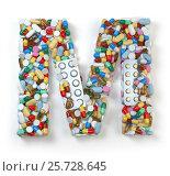 Купить «Letter M. Set of alphabet of medicine pills, capsules, tablets and blisters isolated on white.», фото № 25728645, снято 19 июня 2019 г. (c) Maksym Yemelyanov / Фотобанк Лори