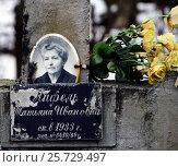 Купить «Могила на Смоленском кладбище», фото № 25729497, снято 1 марта 2017 г. (c) Надежда Голиняк / Фотобанк Лори