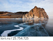 Купить «Winter Baikal with clear ice and reflection of rocks», фото № 25754725, снято 15 марта 2014 г. (c) Анна Костенко / Фотобанк Лори