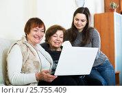 Купить «Three women with laptop», фото № 25755409, снято 23 ноября 2019 г. (c) Яков Филимонов / Фотобанк Лори