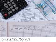 Купить «Калькулятор, налоговая отчетности и денежные купюры», фото № 25755709, снято 21 октября 2016 г. (c) Андрей Липинский / Фотобанк Лори
