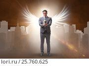 Купить «Angel investor concept with businessman with wings», фото № 25760625, снято 20 августа 2018 г. (c) Elnur / Фотобанк Лори