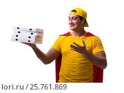 Купить «Super hero pizza delivery guy isolated on white», фото № 25761869, снято 23 декабря 2016 г. (c) Elnur / Фотобанк Лори