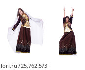 Купить «Young lady dancing traditional azeri dance», фото № 25762573, снято 28 февраля 2013 г. (c) Elnur / Фотобанк Лори