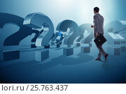 Купить «Businessman in uncertainty concept with question marks», фото № 25763437, снято 18 июня 2019 г. (c) Elnur / Фотобанк Лори