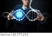 Купить «close up of businessman with virtual dna molecule», фото № 25777213, снято 6 сентября 2016 г. (c) Syda Productions / Фотобанк Лори