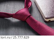 Купить «Male still life. A fountain pen with a notebook lies on a tie.», фото № 25777829, снято 17 марта 2017 г. (c) Александр Якимов / Фотобанк Лори