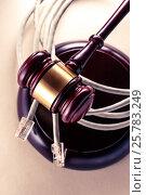 Computer cable and wooden gavel. Стоковое фото, фотограф Ярочкин Сергей / Фотобанк Лори
