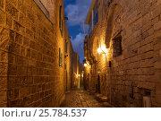 Средневековая улочка ночью в Яффо, Тель-Авив, Израиль, фото № 25784537, снято 2 декабря 2015 г. (c) Наталья Волкова / Фотобанк Лори
