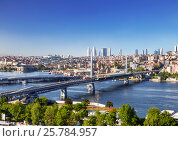 Вид сверху на бухту Золотой Рог и мосты, Стамбул. Турция, фото № 25784957, снято 15 мая 2015 г. (c) Наталья Волкова / Фотобанк Лори