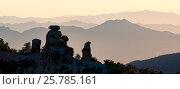 Купить «Boulders near Windy Point, Santa Catalina Mountains, Coronado National Forest,  with Catalina Mountain ridges and the Tucson Mountains, Arizona, USA. September 2016.», фото № 25785161, снято 19 августа 2018 г. (c) Nature Picture Library / Фотобанк Лори