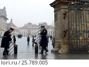 Купить «Гвардейцы из охраны президентского дворца устанавливают заграждение. Прага.», фото № 25789005, снято 28 ноября 2012 г. (c) Free Wind / Фотобанк Лори