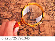 Купить «Ancient map and magnifying glass», фото № 25790345, снято 3 марта 2014 г. (c) Владимир Ковальчук / Фотобанк Лори