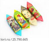 """Купить «Шоколадные конфеты, продукция фабрики """"Красный октябрь""""», эксклюзивное фото № 25790665, снято 13 января 2016 г. (c) Dmitry29 / Фотобанк Лори"""