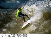 Купить «Boarders surfing on the Isar river in Munich, Bayern, Germany», фото № 25790685, снято 7 июня 2016 г. (c) Юрий Дмитриенко / Фотобанк Лори