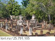 Купить «Три древних скульптуры Будды на руинах вихары буддистского храма Wat Phra Kaeo. Кампаенг Пхет, Таиланд», фото № 25791105, снято 30 декабря 2016 г. (c) Виктор Карасев / Фотобанк Лори