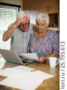 Купить «Senior couple calculating their invoices with laptop in the kitchen», фото № 25793613, снято 29 ноября 2016 г. (c) Wavebreak Media / Фотобанк Лори