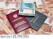 Трудовая книжка, пенсионное удостоверение и деньги. Стоковое фото, фотограф Наталья Осипова / Фотобанк Лори