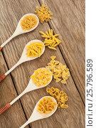 Купить «Spoons filled with varieties of pasta», фото № 25796589, снято 13 октября 2016 г. (c) Wavebreak Media / Фотобанк Лори