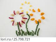 Купить «Varieties of pasta forming flower», фото № 25798721, снято 13 октября 2016 г. (c) Wavebreak Media / Фотобанк Лори