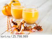 Ice honey pumpkin spice smoothie . selective focus. copy space. Стоковое фото, фотограф Наталья / Фотобанк Лори