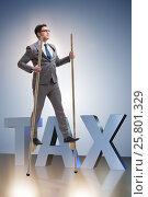 Купить «Businessman walking on stilts - standing out from the crowd», фото № 25801329, снято 23 февраля 2019 г. (c) Elnur / Фотобанк Лори