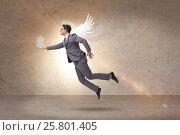 Купить «Angel investor concept with businessman with wings», фото № 25801405, снято 20 августа 2018 г. (c) Elnur / Фотобанк Лори