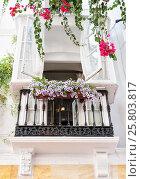 Купить «Beautiful and elegant balcony in the European city», фото № 25803817, снято 28 сентября 2014 г. (c) Анастасия Богатова / Фотобанк Лори