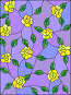 Illustration in the style of stained glass with intertwined yellow roses and leaves on a purple background, иллюстрация № 25805385 (c) Наталья Загорий / Фотобанк Лори