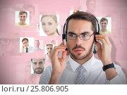 Купить «Composite image of portrait of a focused businessman with headphone», фото № 25806905, снято 17 декабря 2018 г. (c) Wavebreak Media / Фотобанк Лори