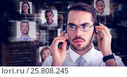 Купить «Composite image of portrait of a focused businessman with headphone», фото № 25808245, снято 17 декабря 2018 г. (c) Wavebreak Media / Фотобанк Лори