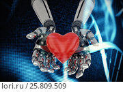 Купить «Composite image of three dimensional image of robot holding red heard shape 3d», иллюстрация № 25809509 (c) Wavebreak Media / Фотобанк Лори