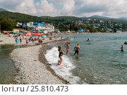 Купить «Сочи, Лазаревское, пляж в устье реки Псезуапсе», фото № 25810473, снято 18 августа 2016 г. (c) glokaya_kuzdra / Фотобанк Лори