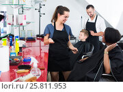 Купить «hairdresser talking with client in beauty salon», фото № 25811953, снято 5 июля 2020 г. (c) Яков Филимонов / Фотобанк Лори