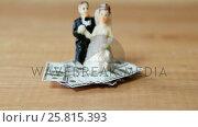 Купить «Miniature bridal couple kept on dollars», видеоролик № 25815393, снято 5 апреля 2020 г. (c) Wavebreak Media / Фотобанк Лори