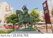 Купить «Конный памятник полководцу Санада Юкимура (1567-1615) возле ж.д. станции Уэда, Япония», фото № 25816765, снято 4 августа 2016 г. (c) Иван Марчук / Фотобанк Лори