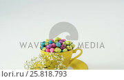Купить «Cup filled with painted chocolate Easter eggs and white flower», видеоролик № 25818793, снято 5 апреля 2020 г. (c) Wavebreak Media / Фотобанк Лори