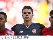 Купить «Costa Rica goalkeeper Mario Sequeira. El Salvador defeated Costa Rica 0-1 in the 2017 CONCACAF Under-20 Championship at the Estadio Ricardo Saprissa. February...», фото № 25821309, снято 19 февраля 2017 г. (c) age Fotostock / Фотобанк Лори