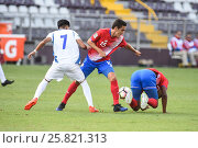 Купить «7 Kevin Reyes, 15 Bernald Alfaro. El Salvador defeated Costa Rica 0-1 in the 2017 CONCACAF Under-20 Championship at the Estadio Ricardo Saprissa. February...», фото № 25821313, снято 19 февраля 2017 г. (c) age Fotostock / Фотобанк Лори