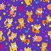 Seamless pattern with funny cartoon foxes on a purple background, иллюстрация № 25823389 (c) Наталья Загорий / Фотобанк Лори