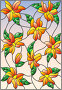 Illustration in the style of stained glass with intertwined lilies and leaves on a sky background, иллюстрация № 25823401 (c) Наталья Загорий / Фотобанк Лори