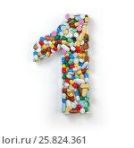 Купить «Number 1 one. Set of alphabet of medicine pills, capsules, tablets and blisters isolated on white.», фото № 25824361, снято 19 июня 2019 г. (c) Maksym Yemelyanov / Фотобанк Лори