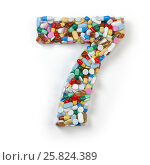Купить «Number 7 seven. Set of alphabet of medicine pills, capsules, tablets and blisters isolated on white.», фото № 25824389, снято 19 июня 2019 г. (c) Maksym Yemelyanov / Фотобанк Лори
