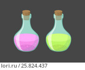 Купить «Vector magic vials with pink and green liquid», иллюстрация № 25824437 (c) Elisanth / Фотобанк Лори
