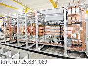 Rack of electrical equipment - manufacture of electrical equipment. Стоковое фото, фотограф Денис Иванов / Фотобанк Лори