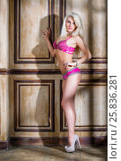 Купить «Young blonde woman in lingerie and high-heel shoes stands in room near panelled wall», фото № 25836281, снято 17 сентября 2015 г. (c) Losevsky Pavel / Фотобанк Лори