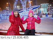 Купить «Woman and little girl at wooden fencing against decorated winter park in the evening», фото № 25836405, снято 24 января 2015 г. (c) Losevsky Pavel / Фотобанк Лори