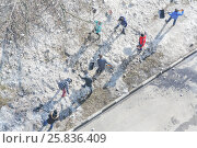 Купить «Residents of high-rise building clean area of yard with snow, above view», фото № 25836409, снято 11 марта 2015 г. (c) Losevsky Pavel / Фотобанк Лори