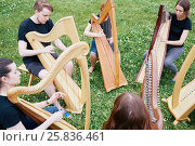 Купить «Ensemble of six young musicians play harps outdoors at grassy lawn», фото № 25836461, снято 19 июня 2016 г. (c) Losevsky Pavel / Фотобанк Лори